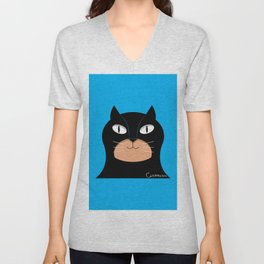 Funny catman character illustrate. catman graphic art Unisex V-Neck