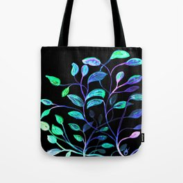 Do Not Go Into The Night, Red and Green Leaves Tote Bag