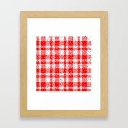 Red White Patchy Marble Tartan Pattern Framed Art Print
