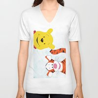 winnie the pooh V-neck T-shirts featuring winnie the pooh and tigger by Art_By_Sarah
