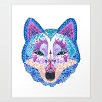 Henna Wolf Art Print