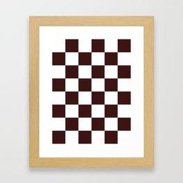 Large Checkered - White and Dark Sienna Brown Framed Art Print