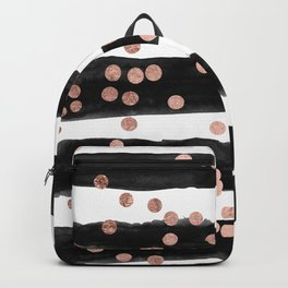 Girly rose gold confetti black watercolor stripes Backpack