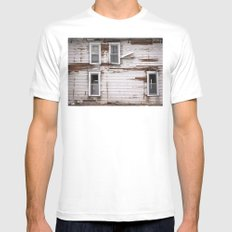 Distressed White Mens Fitted Tee MEDIUM
