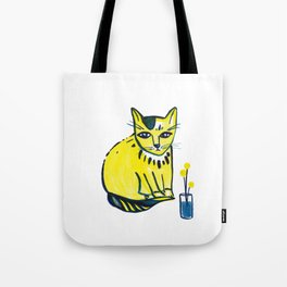 Yellow Cat with Craspedia Tote Bag