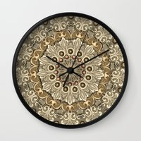 bohemian Wall Clocks featuring Bohemian Sun by Joke Vermeer