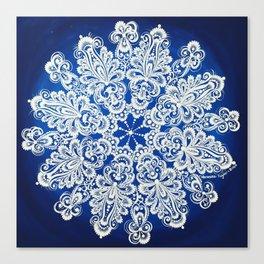White snowflake in Petrykivka style Canvas Print