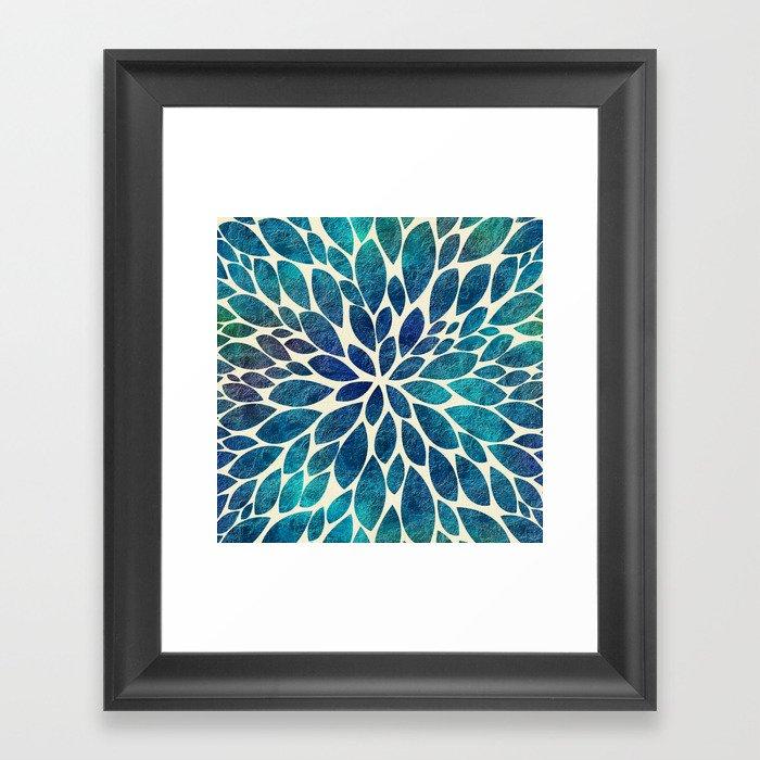 Petal Burst - Turquoise Framed Art Print