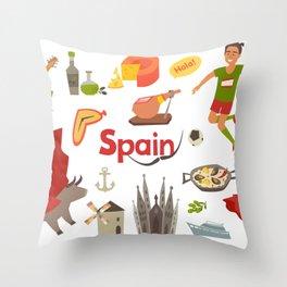 Spain traditional symbols set. Travel tourist element.Traditional spainish corrida, flamenco, guitar Throw Pillow