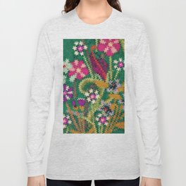 Starry Floral Felted Wool, Green Long Sleeve T-shirt