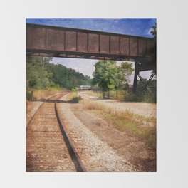 Vintage Railroad Tracks Throw Blanket