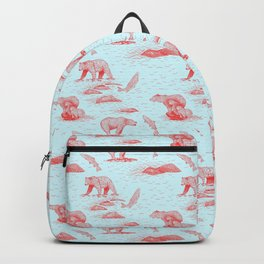 Grizzly Bears Fishing for Salmon (Light Blue and Salmon Red) Backpack