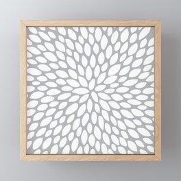 Flower Petal Pattern, Charcoal and White Framed Mini Art Print