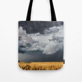 Cotton Candy - Storm Clouds Over Wheat Field in Kansas Tote Bag