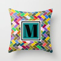 monogram Throw Pillows featuring M Monogram by mailboxdisco