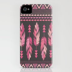 Painted Feathers-Gray iPhone (4, 4s) Slim Case