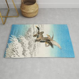 Ducks flying over a snowy field - Vintage Japanese woodblock print Rug