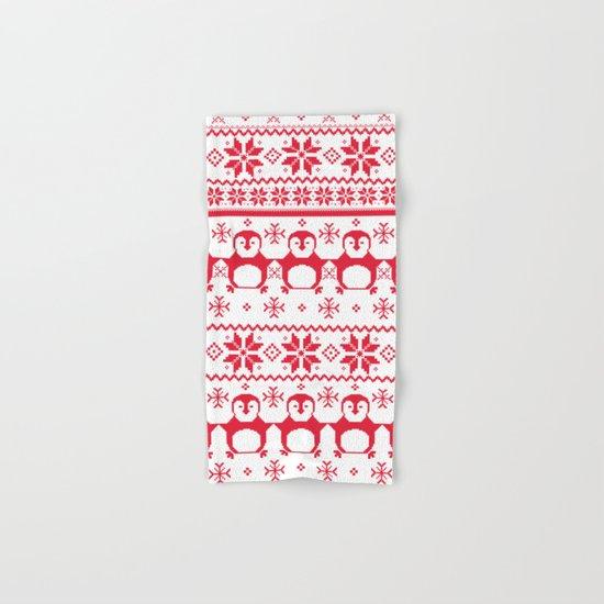Scandinavian Penguin Holiday Design Hand & Bath Towel