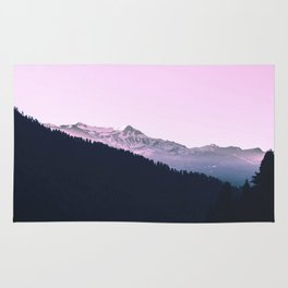 Mountain Forest Sky Pink Pastel Rug