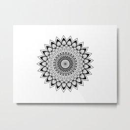 Sacred Lotus Black and White Mandala - LaurensColour Metal Print