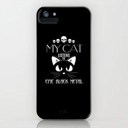 Epic Black Metal Funny Cat TShirt iPhone Case