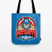 patriots Tote Bags featuring Patriots by Buby87