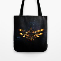 targaryen Tote Bags featuring Zelda Triforce Red Flame by aleha