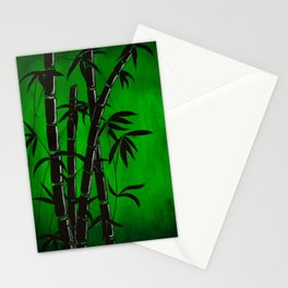 green bamboo graphic silhouette Stationery Cards