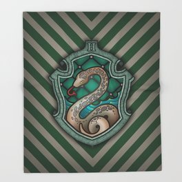 Hogwarts House Crest - Slytherin Throw Blanket