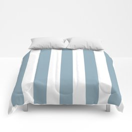 Pewter Blue - solid color - white vertical lines pattern Comforters
