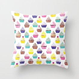 Watercolour Cupcakes Pattern Throw Pillow