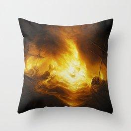 Fireship Attack on the Spanish Armada Throw Pillow