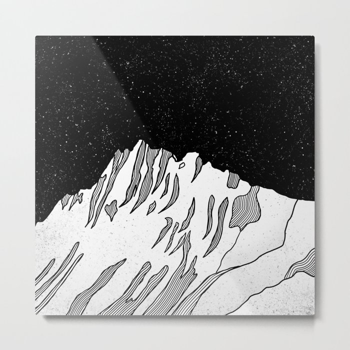 Puncak jaya mountain black and white metal print