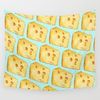 cheese Wall Tapestries featuring Cheese Pattern by Kelly Gilleran