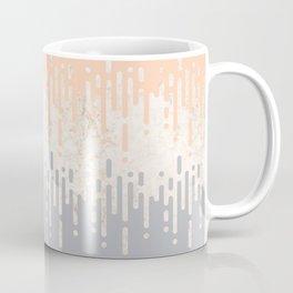 Marble and Geometric Diamond Drips, in Grey and Peach Coffee Mug