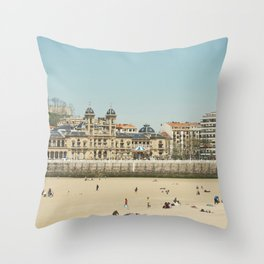 The City Hall and The Beach Throw Pillow