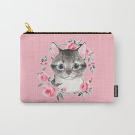 Gray cat with flowers. Watercolor Carry-All Pouch