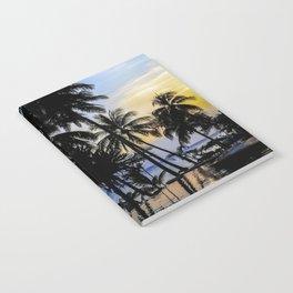 Palm Tree Beach Ocean Pool Sunset Notebook