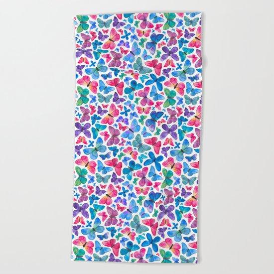 Watercolour Butterflies Beach Towel