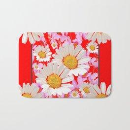 MODERN  DAISY FLOWER  RED ABSTRACT ART DESIGN Bath Mat
