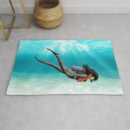 Female S.C.U.B.A. Diver Rug