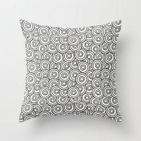 stark Throw Pillows featuring Stark Circles by SonyaDeHart