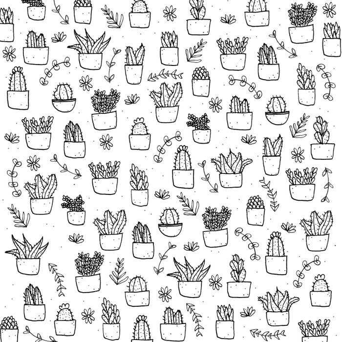 Potted Plants Pattern (Black on White) Comforters