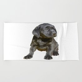 Adorable and Cute Black Labrador Puppy Vector Beach Towel