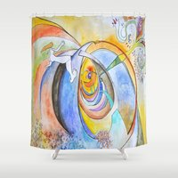 trip Shower Curtains featuring trip by Meld & Heal