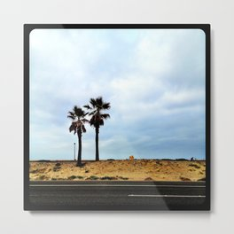 Palm trees at the beach. Metal Print