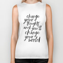 QUOTE, Change Your Thoughts And You'll Change Your World,Motivational Quote,Buddha Art,Calligraphy Q Biker Tank
