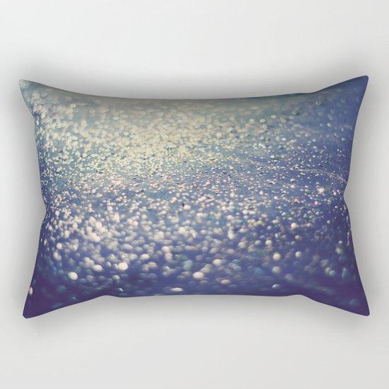 Glitter on Blue Rectangular Pillow
