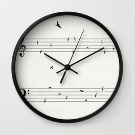 Music Score with Birds Wall Clock