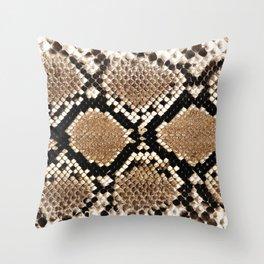 Pastel brown black white snakeskin animal pattern Throw Pillow